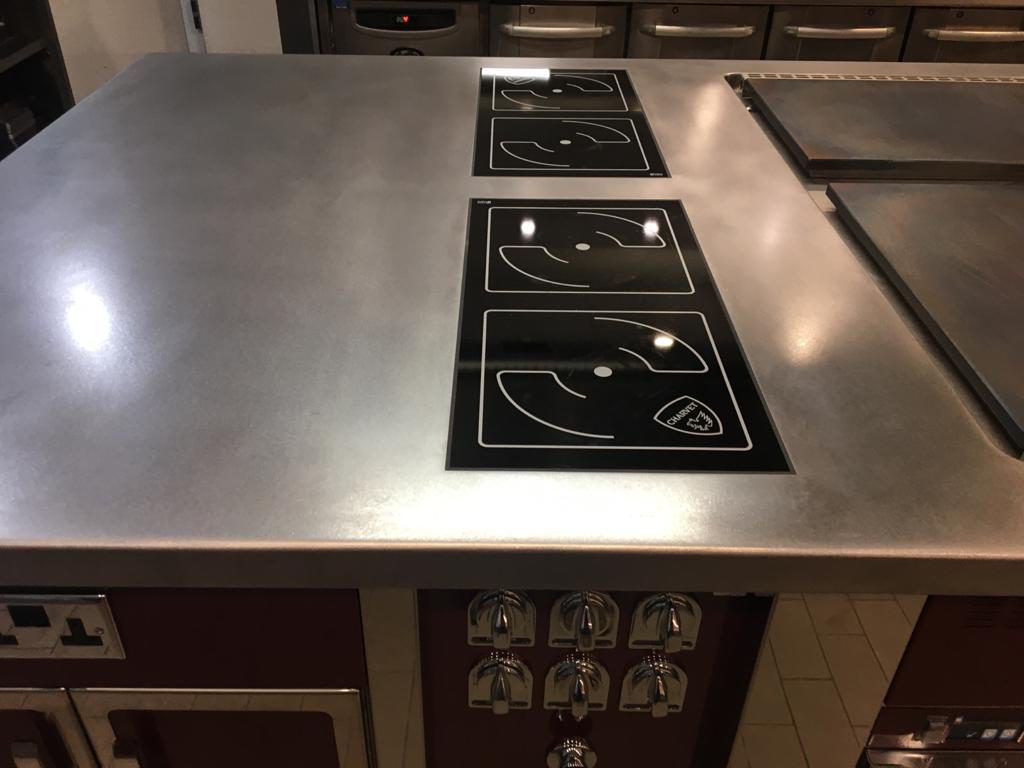 double induction hob on professional cooking suite